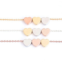 Triple Hearts Necklace, Trio Color Charm, Gold / Silver / Pink Gold Chain, Three Wishes Lucky Charm Jewelry, Bridesmaid Gift, ej gj lj