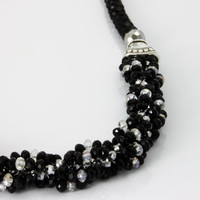Elegant Hand Beaded Necklace / Black and Silver Necklace / Statement Trend Necklace by KalitheoCreations