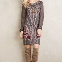 Knitted & Knotted Saone Sweater Dress in Grey Motif Size: