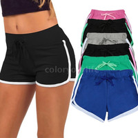 Sports Shorts Contrast Binding Side Split Elastic Waist Yoga Shorts