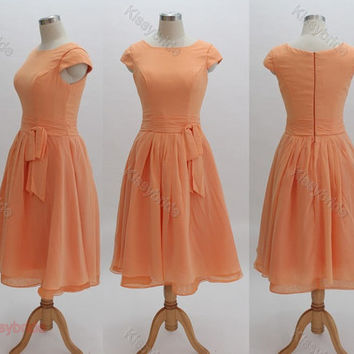 Bridesmaid dress with sleeves, short homecoming dress, peach prom dress, chiffon evening gown, girls party dress, junior bridesmaid dress