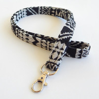 Woven Lanyard / Bohemian / Boho Keychain / Indian Blanket Inspired / Key Lanyard / Black & White / Woven Tribal Fabric / ID Badge Holder
