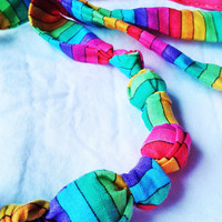 Rainbow fabric teething necklace, nursing necklace, breastfeeding  necklace, wood beads, terra tots, baby shower gift, stocking stuffer