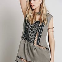 Free People Womens Sleeveless Embroidered Tunic