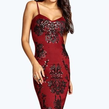 Ava Embellished Front Strappy Sweetheart Midi Dress