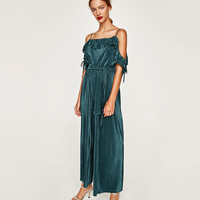 LONG JUMPSUIT WITH RUFFLES NECKLINE