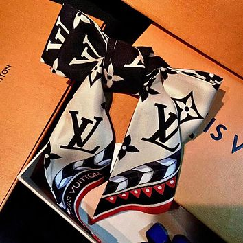 LV Louis Vuitton stitching color letter printing ladies square scarf Headband