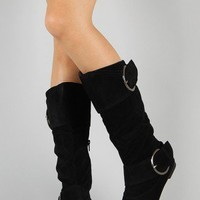 Concord Buckle Slouchy Knee High Boot