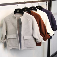 Long Sleeve Double Pocket Cropped Cardigan Sweater