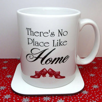 Wizard Of Oz Mug, There's No Place Like Home, Red Ruby slippers, Cup, UK