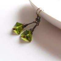 Contemporary earrings, green glass triangle beaded earrings, copper wire earrings, funky earrings, wire jewelry, Pyramid