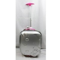 """Hello Kitty 18"""" Rolling ABS Luggage Bag Hard Suit Case- Silver Face Bow"""