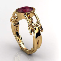 Art Deco Gothic Engagement Ring in 18 k Gold