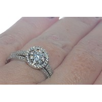 Sterling Silver Wedding Ring Set Micropave Cubic Zirconia Stones