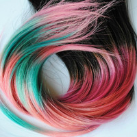 TRIBAL AZTEC Inspired - Human Hair Extensions - Dip Tips / Tie Dyed Clip Ins // Black Pink Turquoise Peach Purple / Ombre Rainbow