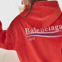 """Balenciaga"" Women Casual Fashion Letter Wave Stripe Velvet Loose Long Sleeve Pullover Hooded Sweater Sweatshirt Tops"