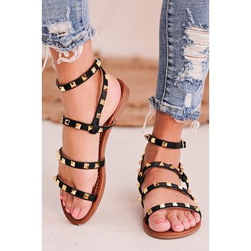 IMPERFECT Baja Babe Studded Sandals (Black)