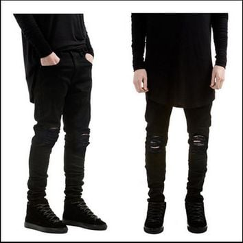 Black Rinsed Denim Weathered Slim Elastic Jeans [6849997891]