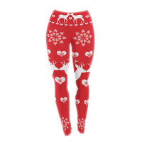 "Suzanne Carter ""Christmas Deer 2"" Holiday Pattern Yoga Leggings"
