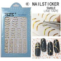1bag/lot Gold French Smile Line Tape Nail Adhesive Stickers Decal for Nail Art