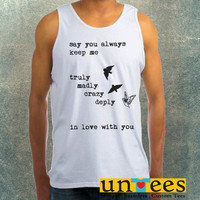 One Direction Song Truly Madly Deeply Crazy Love Birds Clothing Tank Top For Mens