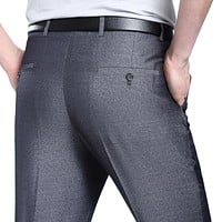Men Silk Long Pants Anti-wrinkle Straight Work Pants Thin Suit Pants For Male Clothing