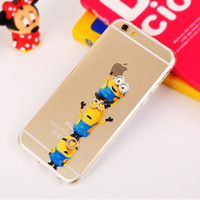 2015 Newest Cartoon Despicable Me Cute Yellow Minions Case Minion Clear TPU cover Phone Case Cover For iPhone 5 5s