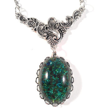 Vintage German Deep Emerald Green Opal Glass with Ornate Silver Floral Connector Necklace