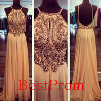 Custom made long prom Dress - holiday chiffon prom dresses Chiffon Beading evening dress plus size party dress party Dresses 2014