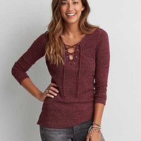 AEO Feather Light Pullover Shirt , Burgundy