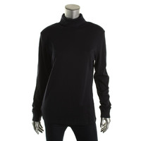 Karen Scott Womens Cotton Solid Turtleneck Top