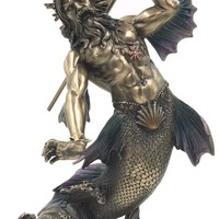 Triton Son Poseidon as Merman Holding Trident Neptune Greek God Sea Statue 11H