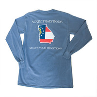 Georgia Traditional Long Sleeve T-Shirt Blue | State Traditions