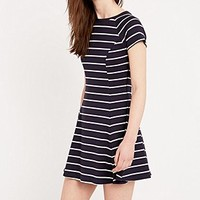 BDG Jackie A-Line Stripe Dress in Navy and White - Urban Outfitters