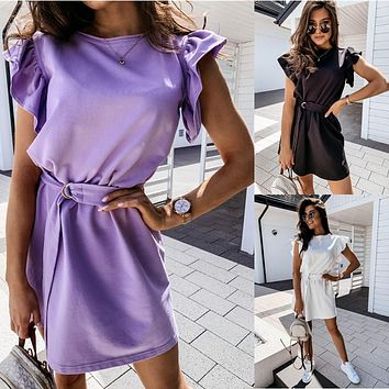 2020 new arrival ruffle short sleeve round neck ladies dress