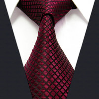 Tie male formal commercial marriage Wine red solid color silk gift box set Jacquard Woven