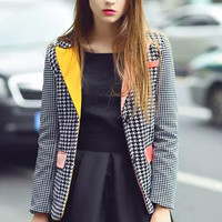 Plaid Color Block Blazer