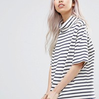 Ganni Old Spice High Neck Striped T-Shirt