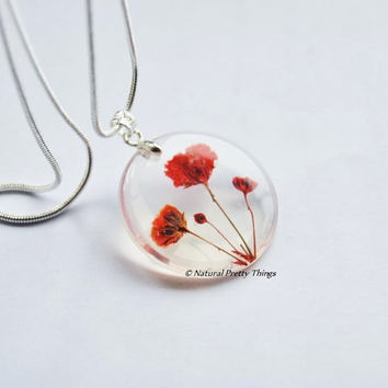 Poppy  Field Real Flower Necklace Red by NaturalPrettyThings