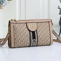 Dior new embroidered printed letters ladies shopping shoulder bag messenger bag Khaki