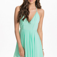 Green Bare Back Halter V-Neckline Skater Dress
