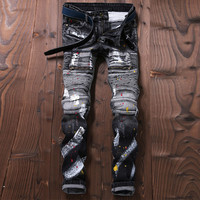 proka pnordy Brand Europe 2017 Men's new jeans locomotive jeans  Punk Trousers jeans Paint Pants jean for Man J005