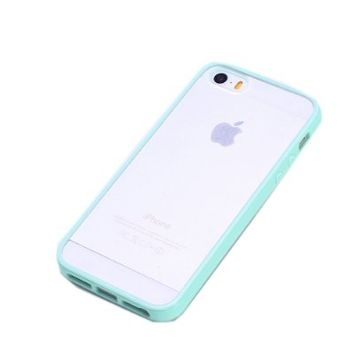 EVERMARKET(TM) Mint Green Lovely Soft Trim Ultra High Clear Back Hard Cover Bumper Case for iPhone 5 5S