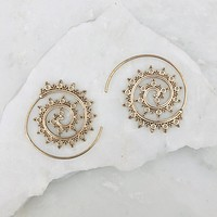 Whirl Around Gold Print Earrings