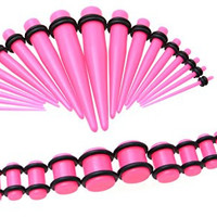 Pink Acrylic Ear Gauge Taper and Plug Starter Stretching Kit - 36 Piece Set