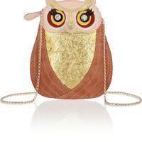 Charlotte Olympia Owl leather and suede bag NET-A-PORTER.COM