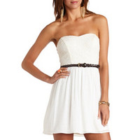 EMBROIDERED BELTED STRAPLESS DRESS