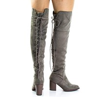 Aspen By Soda, Corset Lace Up Military Inspired Over Knee Boots w High Block Stack Heel