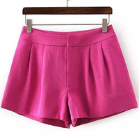 Rose Pink Pleated Mini Shorts