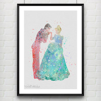 Cinderella and Prince Charming Disney Watercolor Art Print, Baby Nursery Wall Art Poster, Home Decor, Not Framed, Buy 2 Get 1 Free! [No. 74]